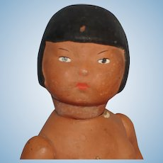 "Chunky 7.25"" Brown Paper Mache Doll c1925-on"