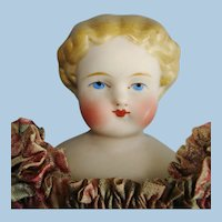 """7.5"""" Parian Type Shoulder Head Doll Germany 1860s-on"""