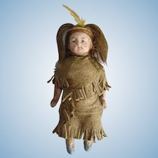 All Bisque Native American & Papoose Indian Doll Germany 1880s-on