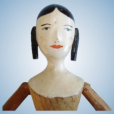 """9"""" House of the Seven Gables Peg Wooden Doll 1930s-40s"""