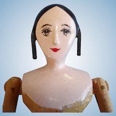 "6 3/4"" House of 7 Gables Peg Wooden Doll PK Shillaber 1950s"