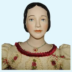 """Niada Artist Halle Blakeley 17.5"""" Fired Clay Lady Doll 1840s Hairstyle"""