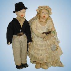 Lenci Bride & Groom Mascotte Cloth Couple Dolls Italy c1931