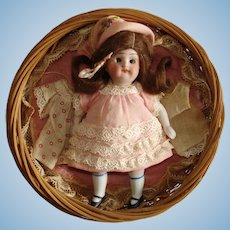 "4"" All Bisque Doll with Display Basket & Clothes Germany 1880s-on"