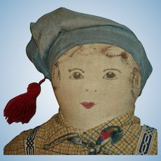 "Early 12.5"" Drawn Face Boy Cloth Rag Doll American Folk Art"