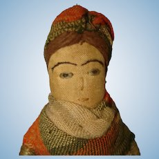 "Early 5 3/4"" Stitched Face Cloth Doll Egg Cosy Cover Novelty"