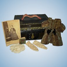 Early Small Doll Trunk & Photo Mignonette Dress & Accessories