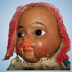 "Early 12"" Paper Mache Black Glass Eye Squeak Doll Germany"