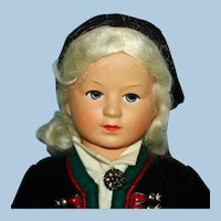 "12"" Ronnaug Petterssen Doll Plastic Head Norway 1950s"