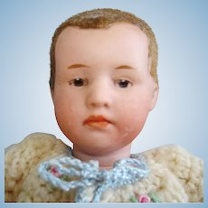 """5.5"""" Flocked Hair Bisque Head Heubach Character Baby Germany 1910-on"""