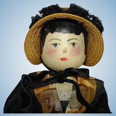 Early Grodnertal Type Peg Wooden Doll Repainted! Germany