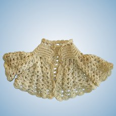 Vintage Crocheted Sleeve Capelet for China Paper Mache or Fashion Doll
