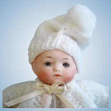"6"" Glass Eye Infant Bisque Head Baby on Midget Body Germany 1920s-on"