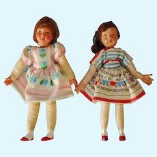 2 Vintage CACO Dollhouse Dolls Germany c1940s-on