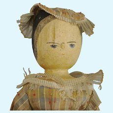 "Early & Primitive 11 1/2"" Peg Wooden Doll Grodner Tal Type"