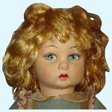 "Vintage 16"" Lenci Felt Cloth Doll Torino Italy Tag 1960s-70s"