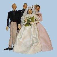 Vintage Wedding Party Crepe Paper and Cloth Dolls