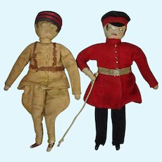 """5.25"""" Military Costumed Cloth Dolls Pair Europe 1922-on Well loved!"""