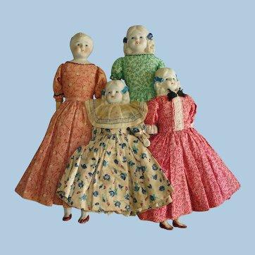 4 Nicely Dressed Bisque Shoulder Head Dolls on Cloth Bodies Japan 1920s-on