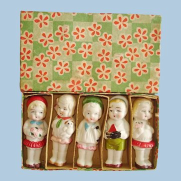5 Occupied Japan All Bisque Immobile Dolls Boxed! 1945-53