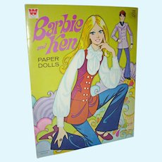 Mod Era Barbie and Ken Paper Dolls Whitman 1970