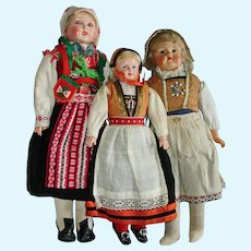 3 Vintage Celluloid Shoulder Head Scandinavian Dolls c 1900-on