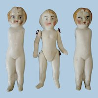 3 Miniature Untinted Bisque Dolls Germany