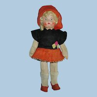 "7.5"" BIng Style Cloth Art Doll Original in Autumn Colors"