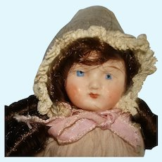 "Antique 5.5"" All Bisque Chubby Face Doll Germany1880-1910"