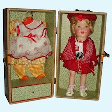"13"" Miss Charming Composition Doll with Wardrobe & Pin EG Goldberger 1936"