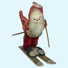 Vintage Made in France Skiing Santa Claus Christmas Decoration 1930s-40s