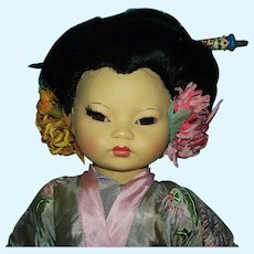 "Unusual 17"" Hard Plastic Geisha Japan Doll Made in Italy  1960s"