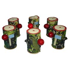 6 George Washington's Birthday Candy Container Logs Germany 1920s-on