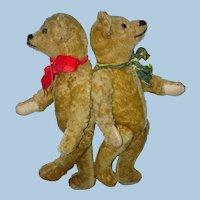"Early 15.5"" Mohair Swivel Neck Teddy Bears Well Loved!"