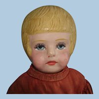 """16.5"""" Bobbed Hair Martha Chase Oil Painted Cloth Doll Tagged Pawtucket RI 1889-on"""