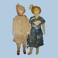 """Early 18 .5"""" Flapper Cloth Dolls Pair 1920s"""