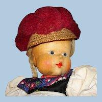 "Anna Fehrle 11 3/4"" Hand Carved Wood & Cloth Artist Doll Germany 1930s"