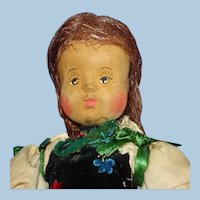 """Artist Anna Fehrle 9"""" Hand Carved Wooden & Cloth Doll Germany 1930s-on"""