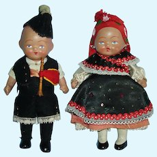 "Unusual All Bisque 6"" Couple Strung Dolls in Ethnic Costuming Early"
