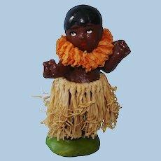 "Vintage 2 3/4"" Hawaiian Hula Girl Pottery Doll Figurine Japan 1950s"