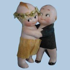 "All Bisque 2 3/8"" Kewpie Huggers Cake Topper Miniature Dolls Germany 1913-on"