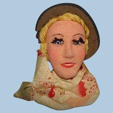 Vintage Unusual Artist Painted Cloth Head Novelty Doll