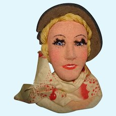 Vintage Unusual Artist Painted Cloth Head Novelty Doll