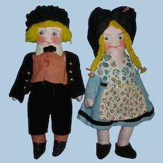 "Early Hansi Gretel & Yerri 8"" French Cloth Character Dolls Depose France"