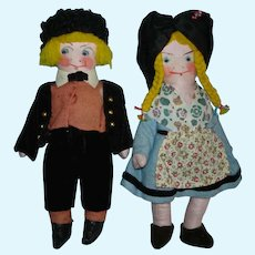 "Early Hansi Gretel & Yerri 8"" French Cloth Character Dolls Depose France"