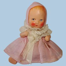 """Vintage 2 3/4"""" Painted Bisque Baby Dollhouse Doll Original 1930s-on"""