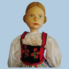 "11 3/4"" Swiss Linden Wooden Doll Huggler Switzerland 1920s-on"