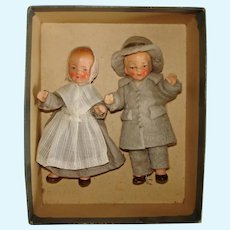Shaker and Shakeress Painted Bisque Dollhouse Dolls Germany 1930s