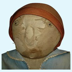 "Early 28"" Huge & Heavy Cloth Rag Folkart Doll  Well Loved!"