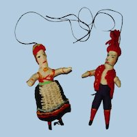 "Vintage Norwegian 3.5"" Wrapped Yarn Miniature Dolls Ornaments 1930s"